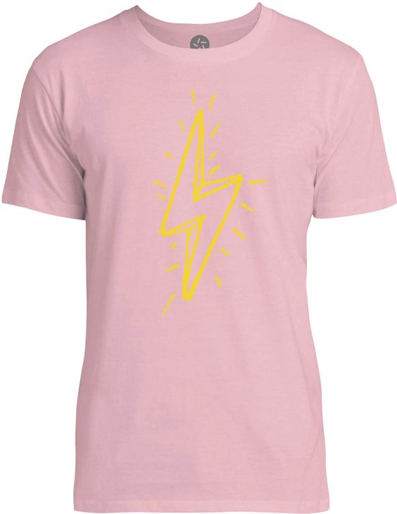 Hand Drawn Lightning Bolt (Yellow) Mens Fine Jersey T-Shirt