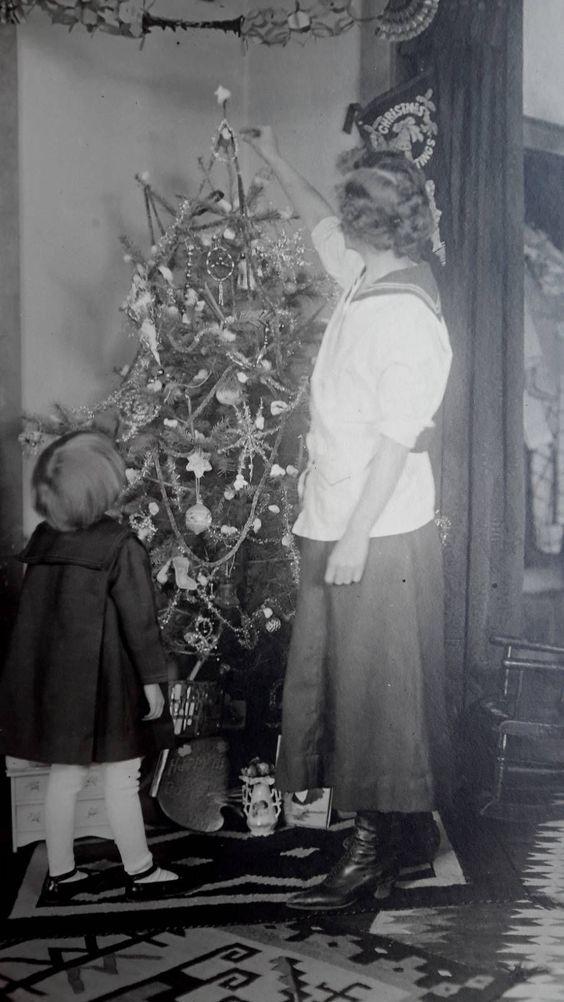 Vintage 1918 Christmas Photo Little Girl Decorating Tree