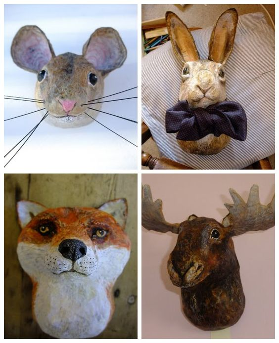 paper mache animal mask trophy heads papier m ch. Black Bedroom Furniture Sets. Home Design Ideas