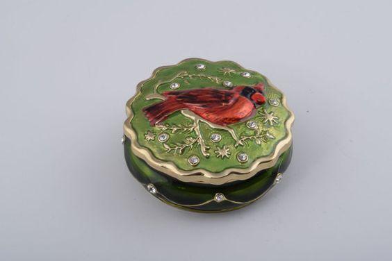 Redbird (Northern Cardinal) Faberge Styled Green Trinket Box Handmade by Keren Kopal Enamel Painted Decorated with Swarovski Crystals