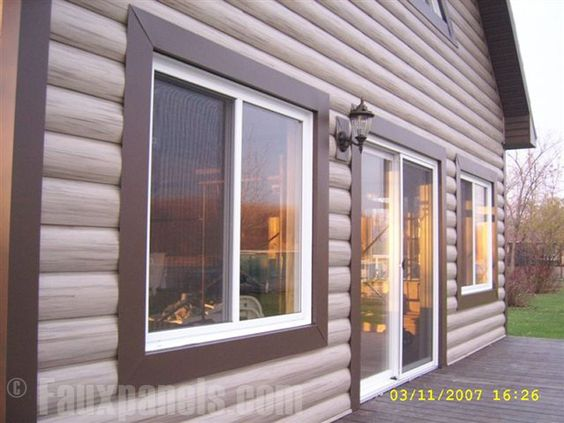 Log Cabin Vinyl Siding Striking Exterior Home Design Building Ideas Extras Pinterest