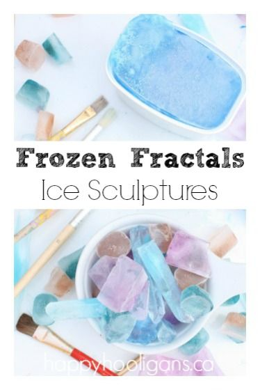 Frozen Fractals Ice Sculptures!  This is perfect for summer when you and the kids are trying to beat the heat.  It's amazing that kids can learn a bit about science when they are having so much fun!!  This is a must pin.