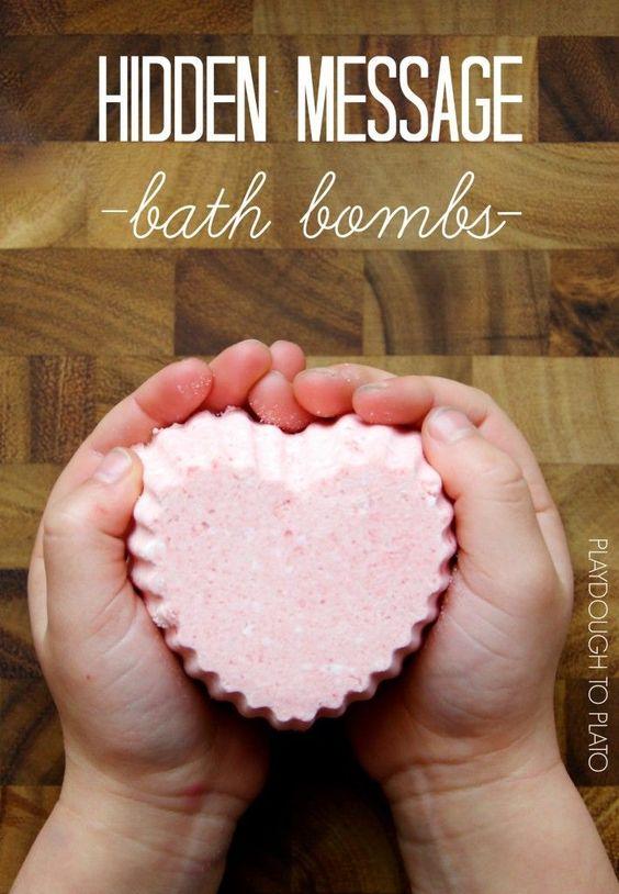 Gorgeous hidden message bath bombs. What a fun kid-made valentine!!
