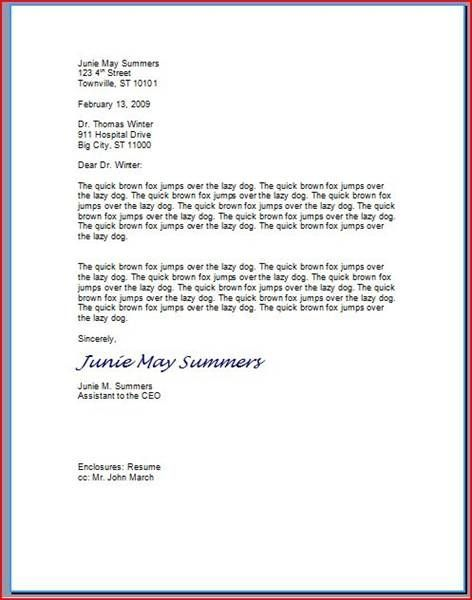 How to type a professional letter business letter format for Proper way to start a cover letter