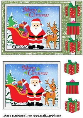 Green Santas loaded sleigh card front on Craftsuprint designed by Sharon Poore - Santas loaded sleigh card front with decoupage - Now available for download!