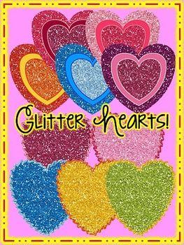 {Freebie} Glitter Hearts Clip Art Cu OK