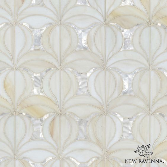 Calla, a jewel glass waterjet mosaic shown in Quartz and Shell, is part of the Miraflores Collection by Paul Schatz for New Ravenna Mosaics.