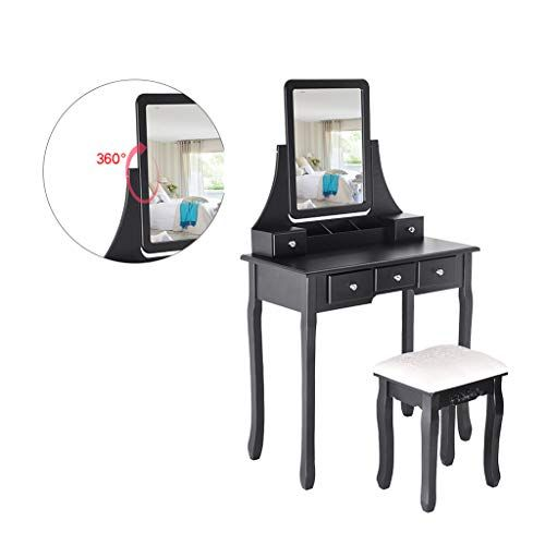 Jawm Dressing Table With Mirror Light Wood Vanity Table And Stool Set For Girls Women Bedroom Mirrored Bedroom Furniture Woman Bedroom Black Bedroom Furniture