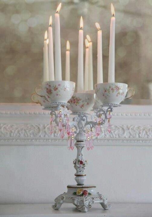 Candleabra tea party centerpiece