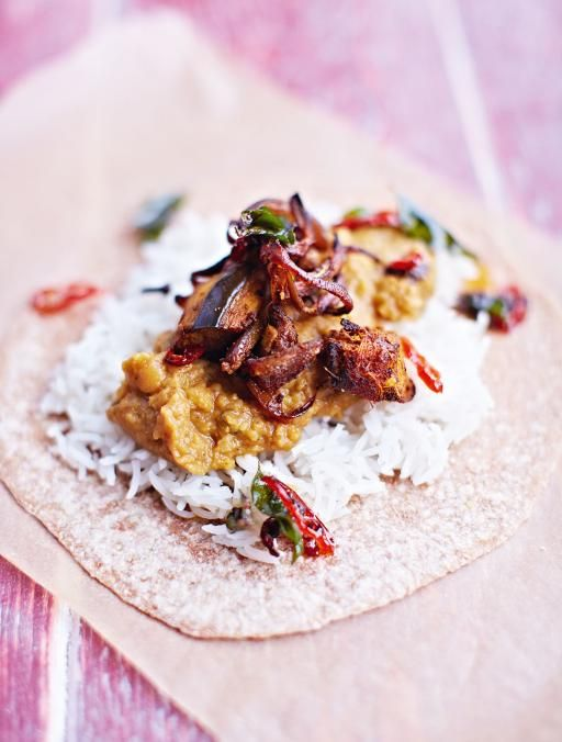 With handmade chapatis Daal is a tasty, cheap and wonderful expression of how great lentil recipes can be – teamed with fluffy rice, roasted aubergine and chilli, this is utterly delicious