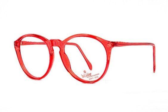 Red transparent Round Vintage Eyeglasses