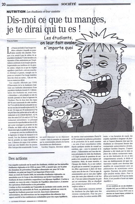 La nourriture & les étudiants. Figaro étudiant.