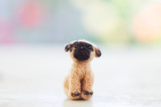 Needle felted toy  Little Pug Puppy by WoolenTenderness on Etsy, $12.00