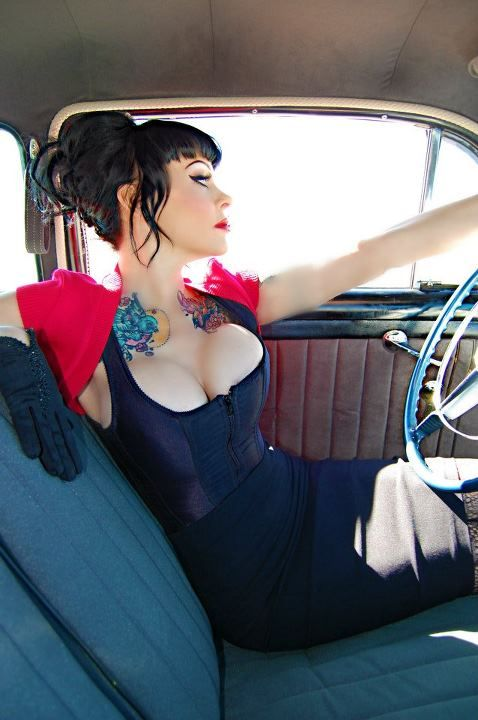 Pinup Fashion: adorable dress and red shrug. Love the neck tats too.