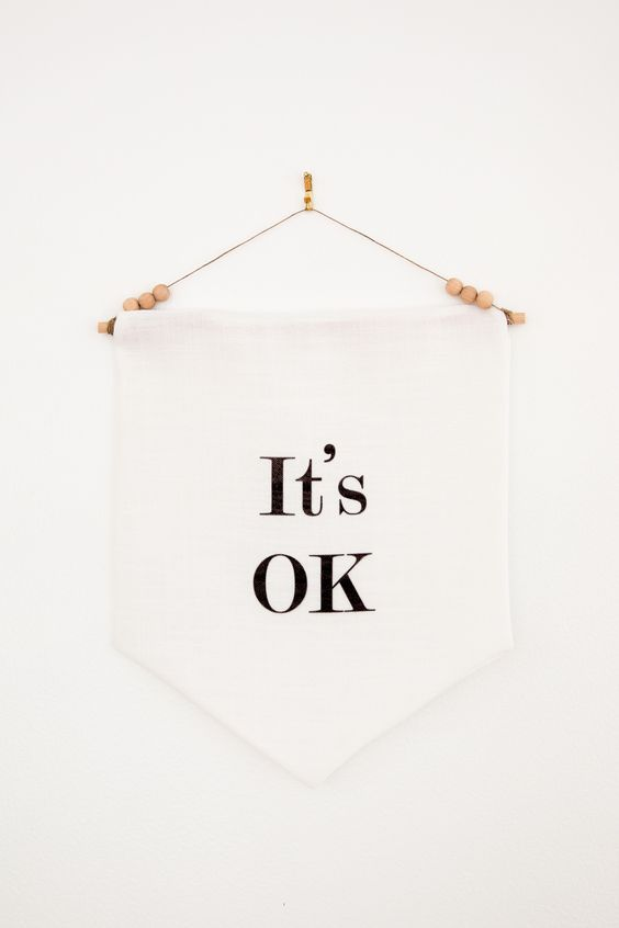 It's OK Wall Pennant | Modern Minimalist Home Decor | Wall Hanging | Fabric Banner | Home Decor Flag | It's Ok Banner |Wall Art Encouragment