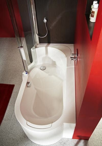 """Last week, I had a discussion with an architect friend about the prevalence of separate bathtubs and showers in new housing and condo developments. While I think they are a huge waste of space (especially in New York City), she agreed but knew most developers wouldn't stray from this """"new standard of luxury."""" Here is a solution! The Twinline Tub Shower from German company Artweger is a combination bathtub and shower that doesn't skimp on style..."""