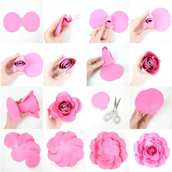 Free Large Paper Rose Template Diy Camellia Rose Tutorial How To Make Large Paper Roses Paper Roses Diy Paper Flowers Diy Easy Paper Flower Template