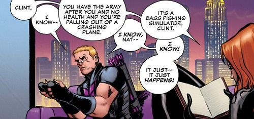"""Clint Barton: Actual Human Disaster."" Hawkeye can't even play Tetris without it ending in blood and tears. [Loki: Agent of Asgard #1, 2014]"