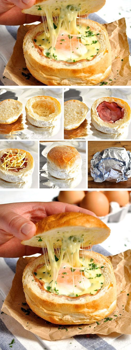 Ham egg cheese bread bowls click pic for 25 easy for Easy breakfast in bed ideas