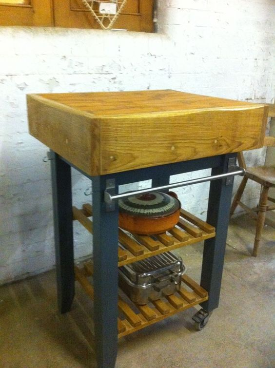free standing butcher block prep station kitchen island