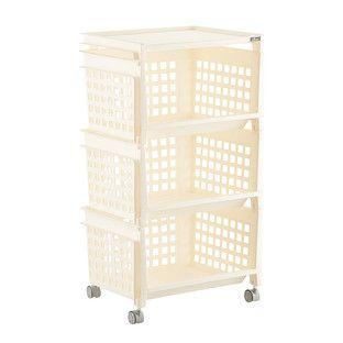 Cream 3 Tier Plastic Storage Bin With Wheels Plastic Storage Bins Metal Storage Bins Storage Bins With Wheels
