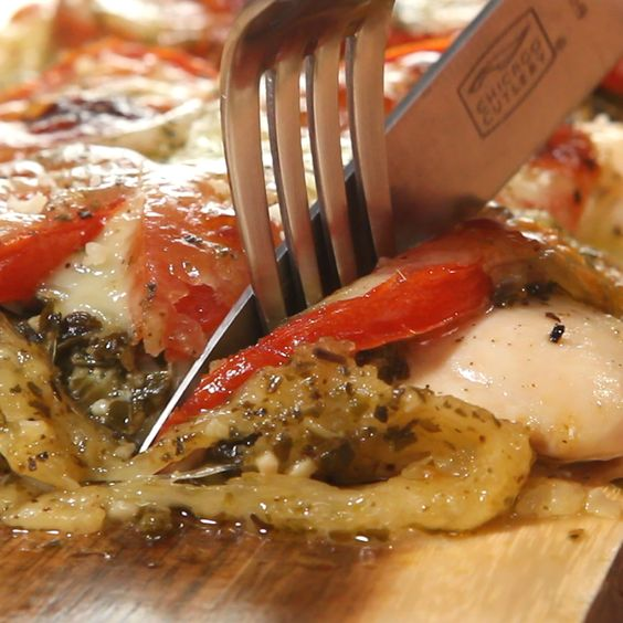Pesto Chicken - chicken, pesto, sliced roma tomatoes, and mozzarella cheese - Bake @ 400deg for 40 mins