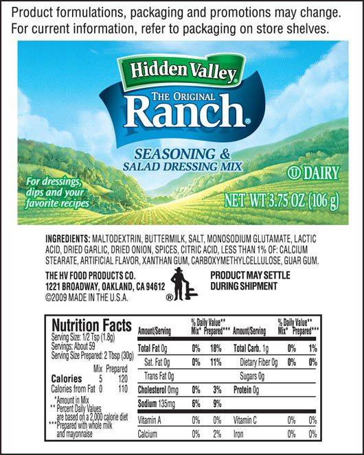 Seasoning Salad Dressing Mix Shaker Nutritional Facts Salad Dressing Seasonings Ranch Seasoning