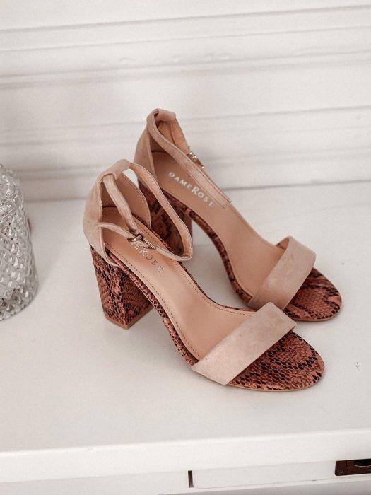 Sandalki Na Slupku Pink Wedges Shoes Cork Wedge