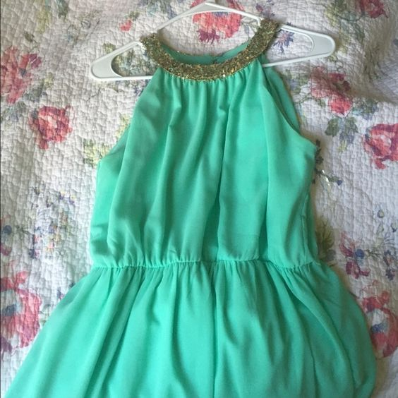 Dainty Hooligan Teal Maxi Dress Real Maxi Dress with a gold Sequined Neckline! Wore once. Dresses Prom