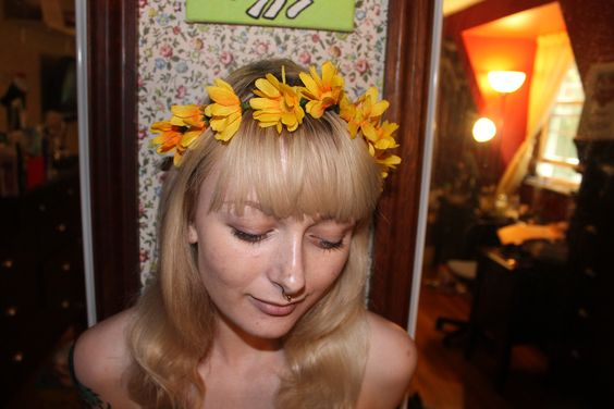sunflower. flower crown. flower. crown. hairpiece. sunflowers. available on flowerchildshopp on etsy!