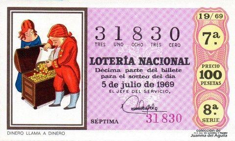 Décimo Del Sorteo Extraordinario De Lotería De Los Millones Celebrado El 5 De Julio De 1969 Coleccionismo Loteria Colecci Lotería Nacional Lotería Sorteo