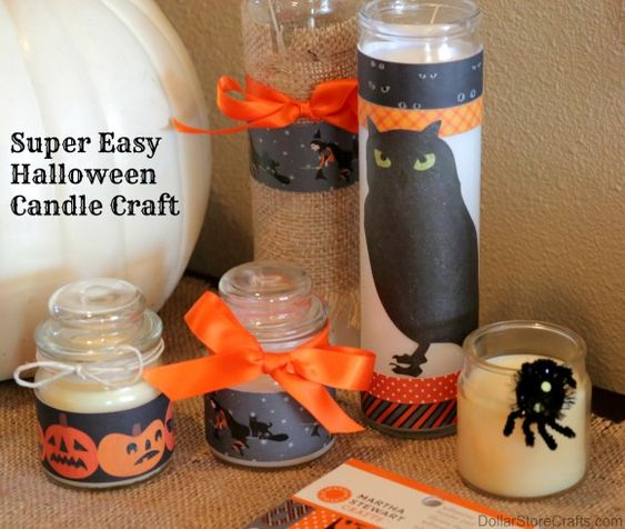 Super easy halloween candle craft - dress up dollar store candles!