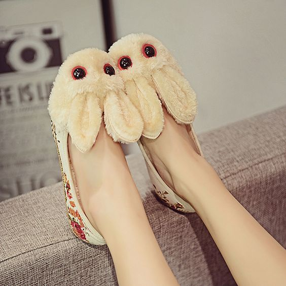 Floral Rabbit Wool Fleece Lining Slip On Round Toe Flat Shoes
