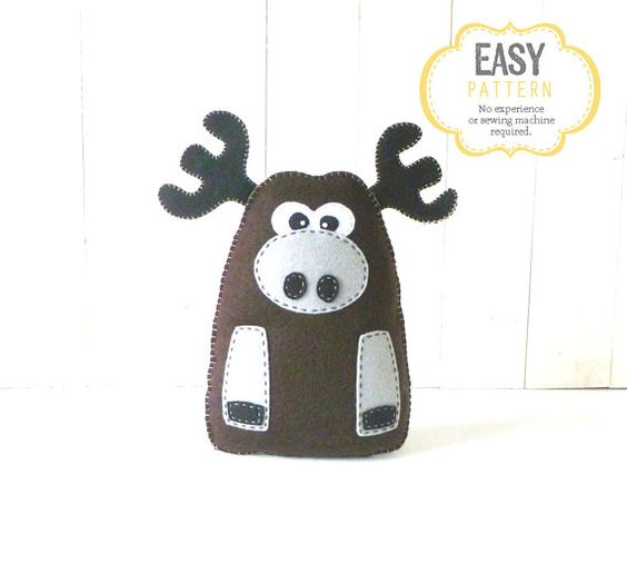Moose Sewing Pattern, Plush Felt Moose Stuffed Animal Sewing Pattern, Instant Download PDF, Woodland Animal Pattern