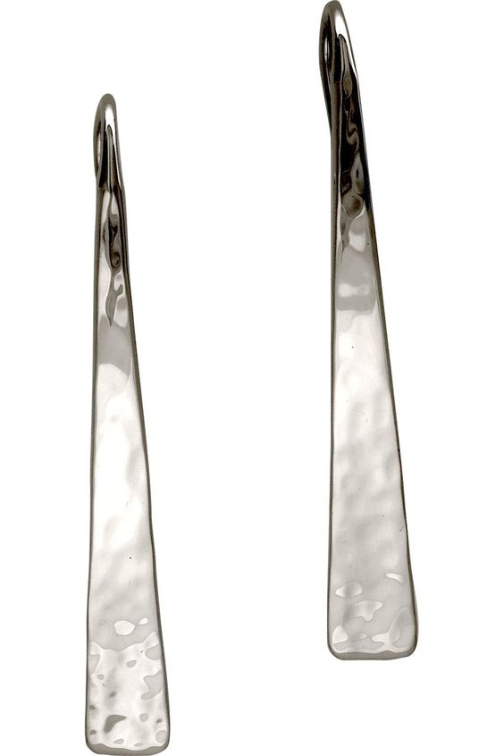 """Experience the soft edges and clean lines of the Silver Hammered Taper earrings. Simple, modern, and hand hammered for that classic, absolutely timeless look. These earrings complement your entire wardrobe and are a joy to wear every day. Handcrafted in sterling silver. Frenchback earwire. Earrings is 1 1/2"""" long.   Silver Hammered Taper by Ed Levin Jewelry. Accessories - Jewelry - Earrings Vermont"""