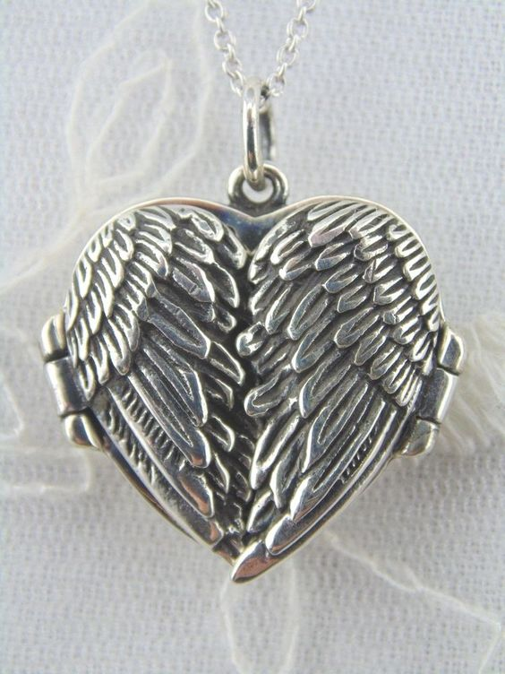 Angel Wing Heart Locket Pendant Necklace 925 Sterling Silver New #Unbranded…