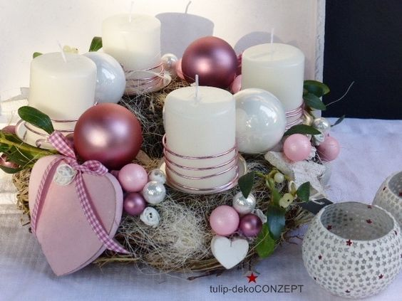 Adventskranz rosa herzl deko ideen pinterest - Depot weihnachtsdeko ideen ...