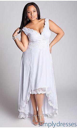 White High-Low V-Neck Dress at SimplyDresses.com