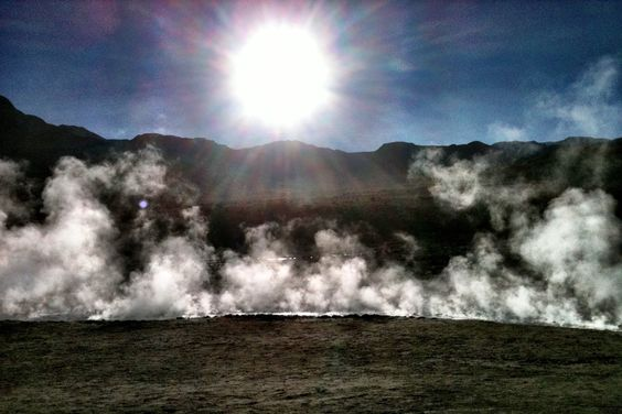 Steam rising from El Tatio Geyser in the Atacama Desert, Chile. How'd we get our name? http://www.finisterra.ca/title/