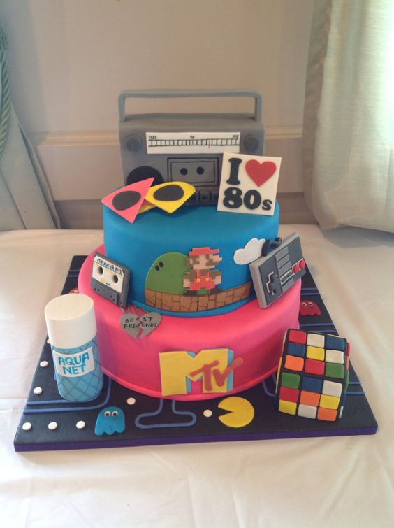 80 S Cake 80 S Theme Cake With Gum Paste Accessories It