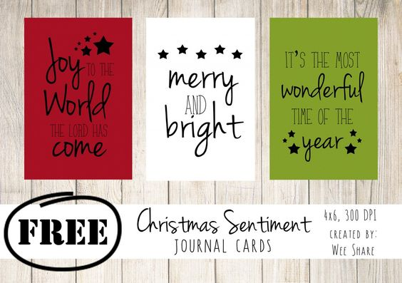 Christmas Sentiment Journal Cards - Free Printable - December daily - Project Life - Pocket Scrapbooking