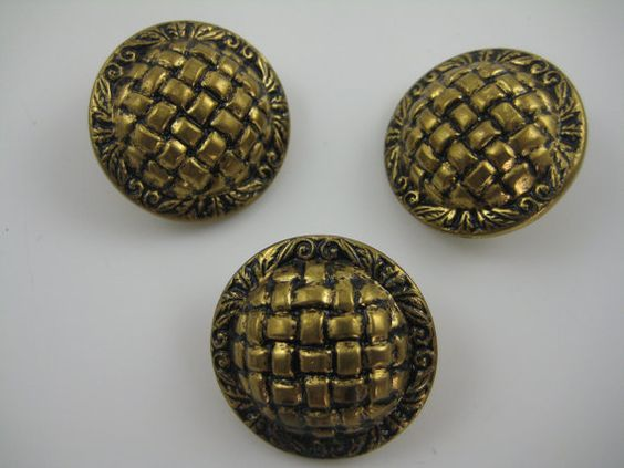 Three 1 1/4 Vintage Metal Buttons Antique Gold by AnjusCreations, $3.00