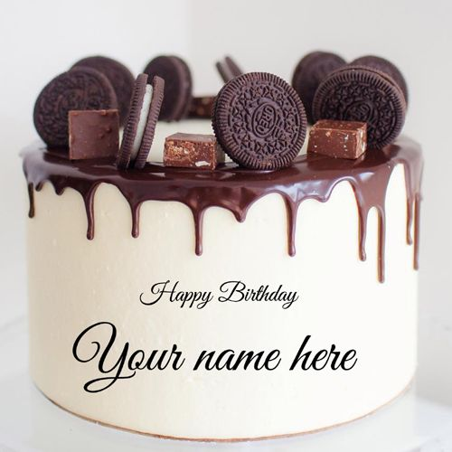 Magnificent Write Name On Oreo Biscuit Decorated Chocolate Cake Happy Funny Birthday Cards Online Benoljebrpdamsfinfo