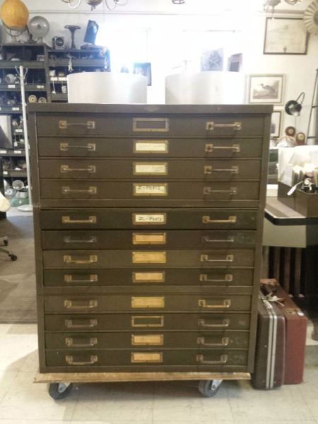 this early 20c, original paint, 12 drawer flat file cabinet comes apart in 3…