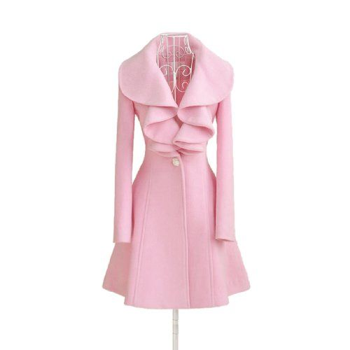 Women Pink Fit Trench Coat Long Wool Blend Jacket Parka Fashion