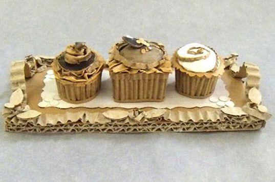 cardboard sculpture of dessert