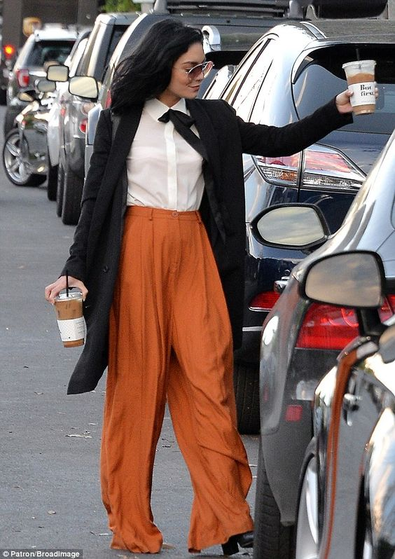Vanessa Hudgens dons pumpkin-hued trousers as she grabs coffee in West Hollywood | Daily Mail Online
