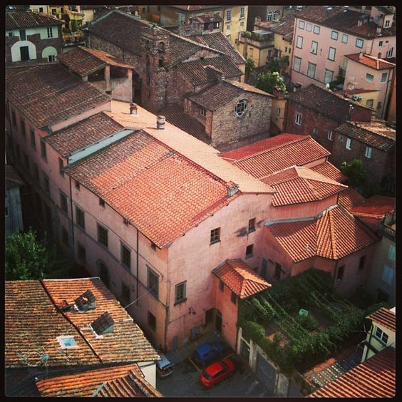Pink house in Lucca, taken from Torre Guinigi Toscany.