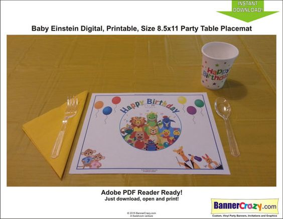 Baby Einstein Birthday Party Placemat Table Mat Digital Instant Download PDF Party Decor by bannercrazy.com