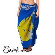 Sasak Floral Beach Sarong - Ocean Blue